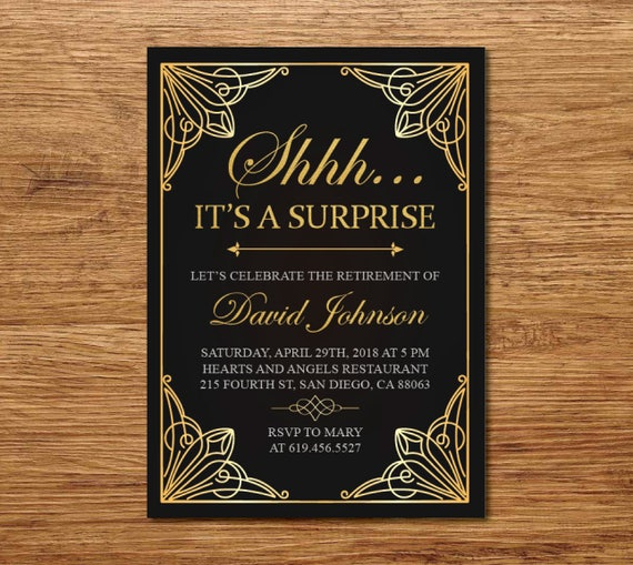 shhh it s a surprise retirement invitation printable gold etsy