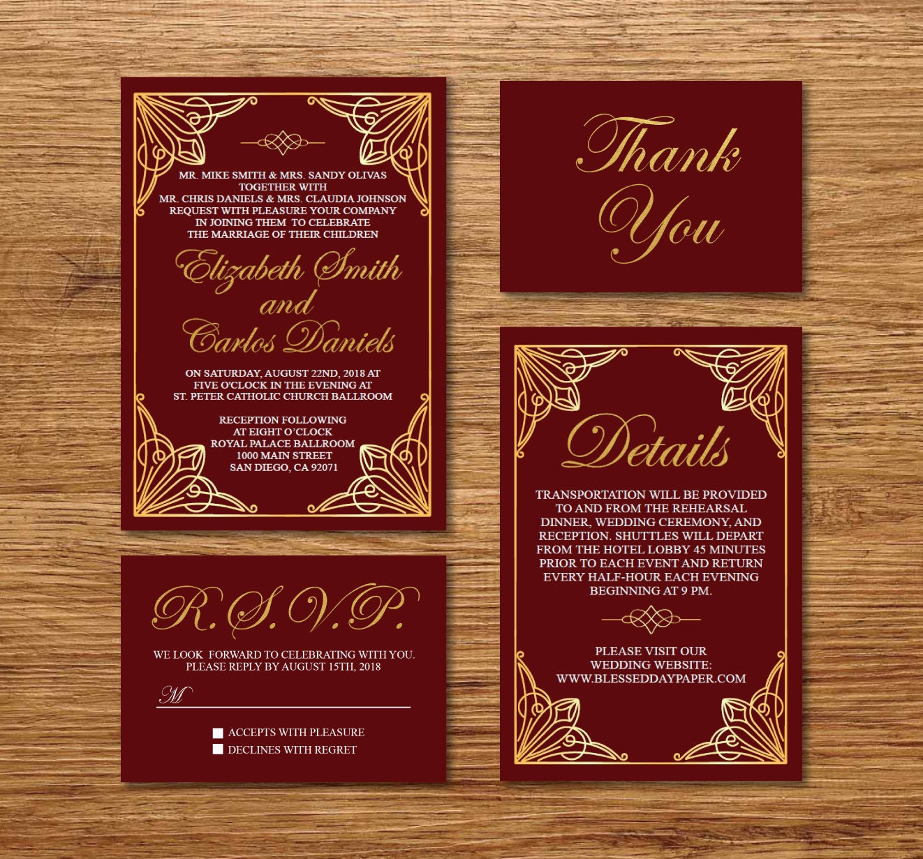 Gold & Burgundy Wedding Invitation Printable/E-Card Wedding | Etsy