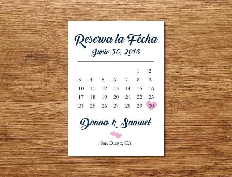 Navy Blue and Pink Printable Spanish Save the DateSave the Date PostcardSave the Date AnnouncementReserva La Fecha Tarjeta en Espanol
