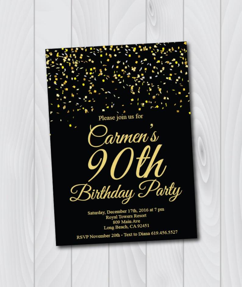90th Birthday Invitation Printable Gold Black