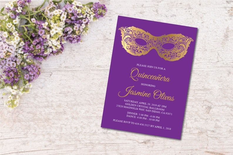 photo about Et Mask Printable referred to as Masquerade Quinceanera Invitation/Printable Pink Gold Mask Quince Invitation/Spanish Solution/15th Birthday Invitation/Quince Get together Invite