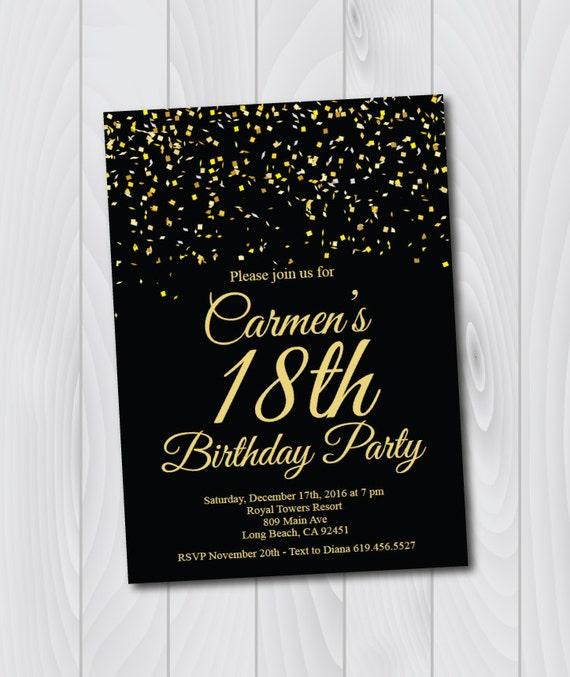 18th Birthday Invitation Printable Gold Black E Card Template Eighteenth
