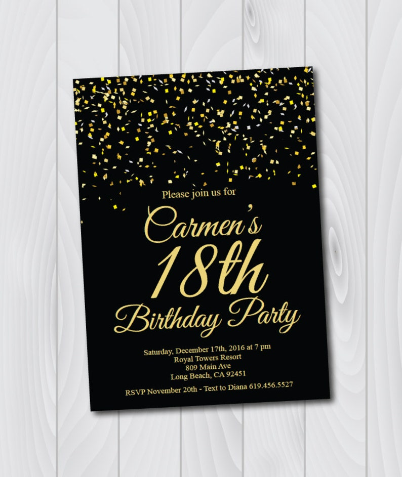 18th Birthday Invitation Printable Gold Black