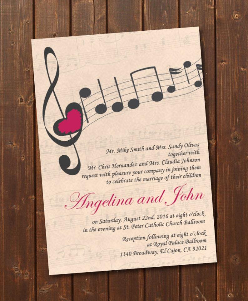 music wedding invitation printable setvintage wedding