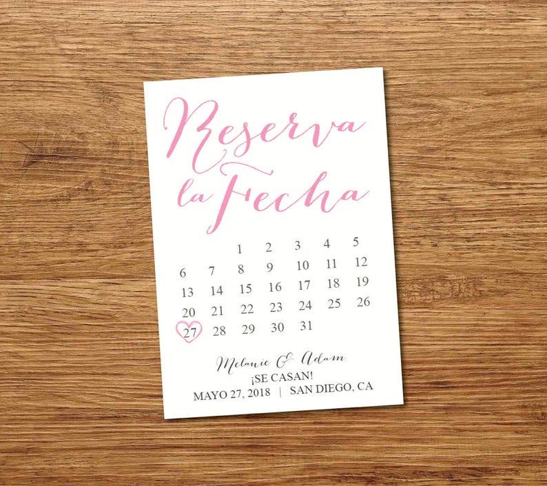 Calendario Spagnolo.Stampabile Spagnolo Salva Il Modello Di Calendario Data Salva La Data Cartolina Salvare La Data Annuncio Reserva La Fecha Tarjeta En Espanol