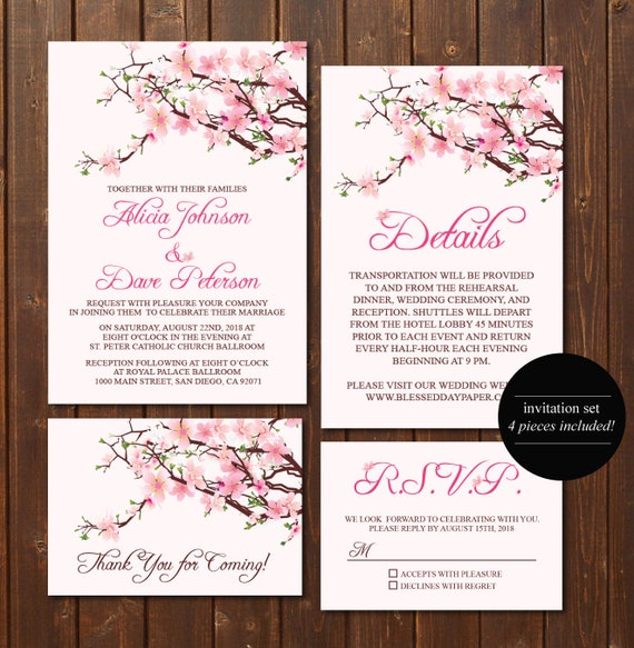 RSVP Card Cherry Blossom Wedding Invitation Set Custom Digital Printable Details Card