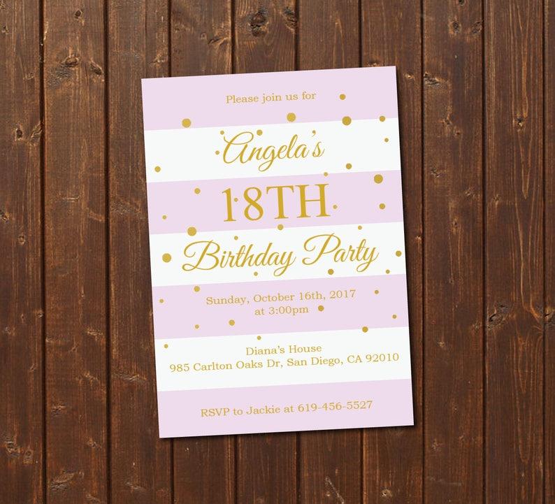 18th Birthday Invitation Printable Gold Pink E Card Template Eighteenth