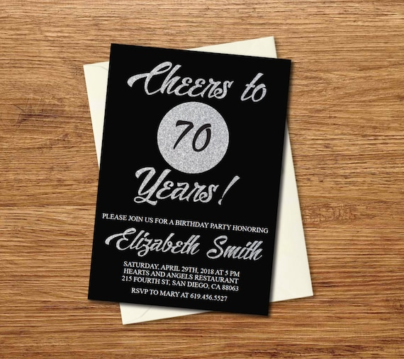 70th Birthday Invitation Printable Silver Black