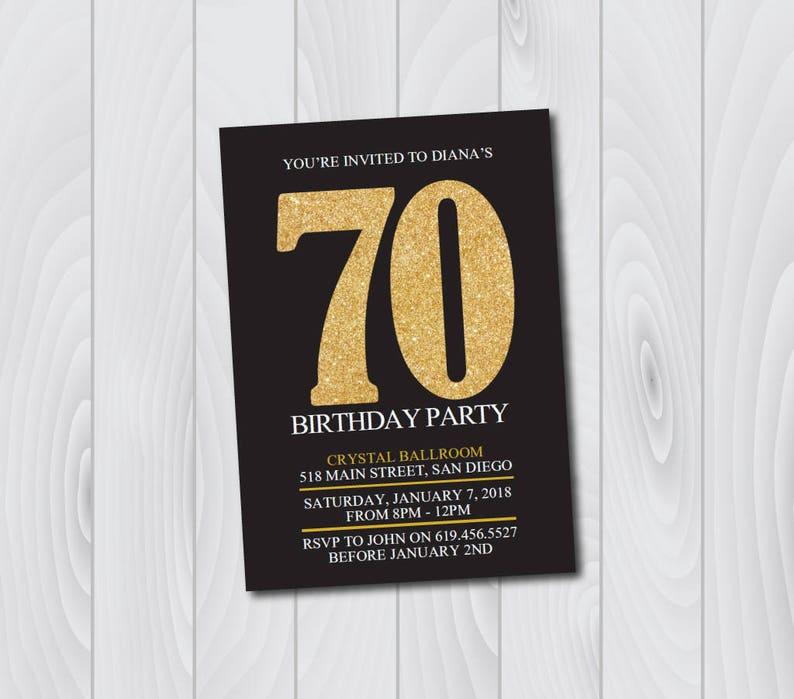 70th Birthday Invitation Printable Gold Black
