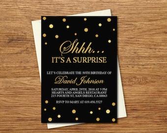 Surprise Birthday Invitations/Printable Black & Gold Birthday Invitations/for Men/for Women/Any Age and Color/Spanish Option/Gold Confetti