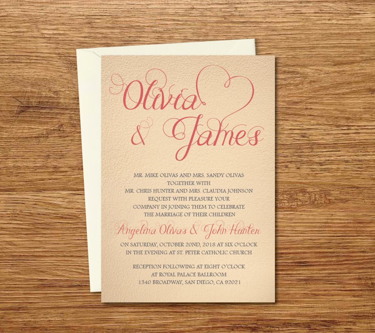 Vintage Custom Wedding Invitation Printable Template/E