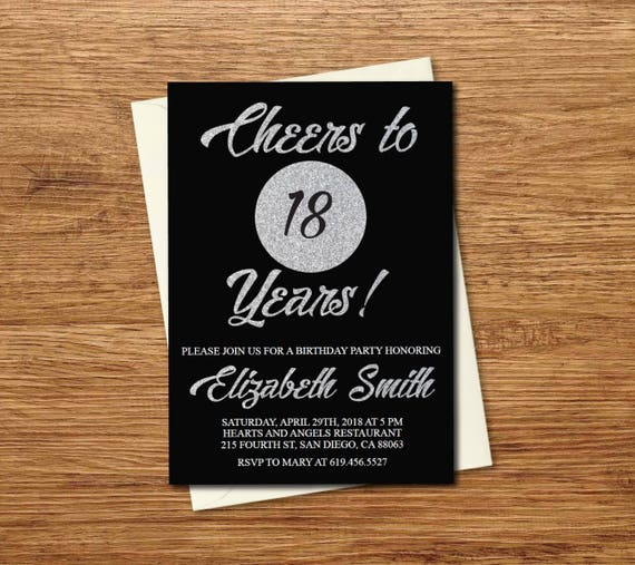 18th Birthday Invitation Printable Glitter Silver Black