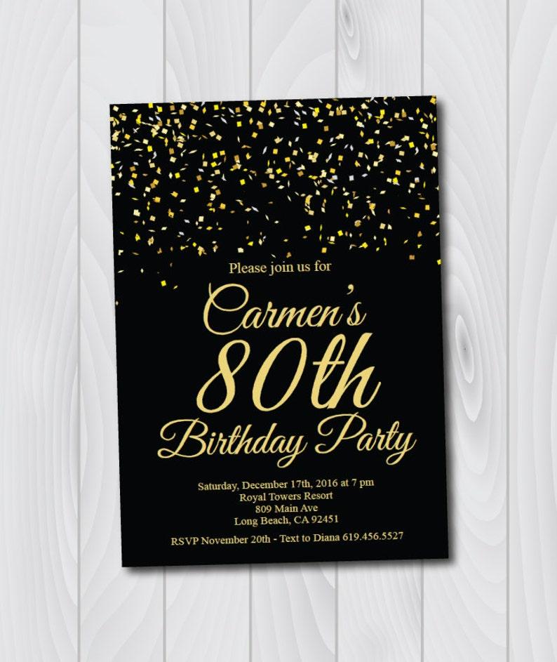 80th Birthday Invitation Printable Gold Black