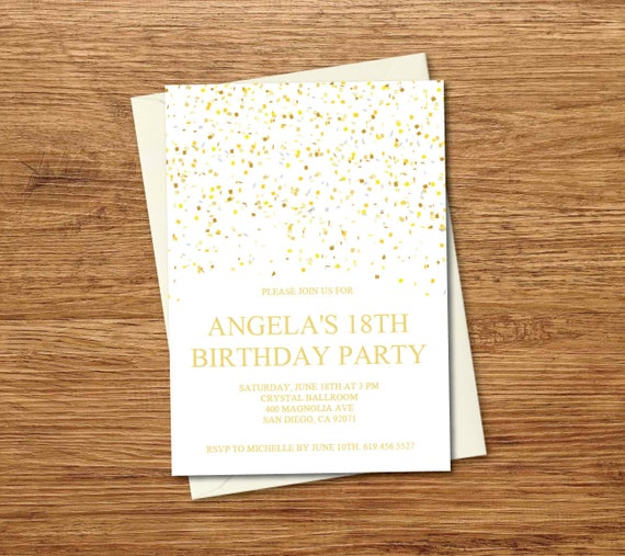Birthday Invitation Template Printable Gold White