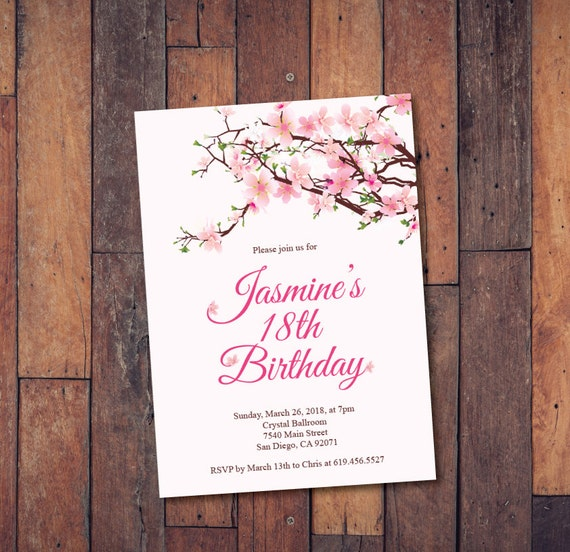 18th Birthday Invitation Printable Cherry Blossom