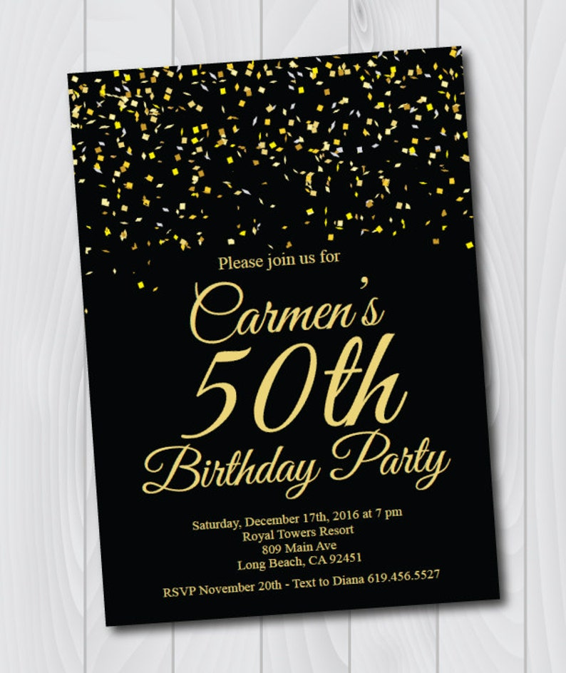 50th Birthday Invitation Printable Gold Black