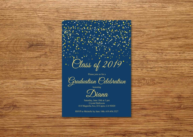 Navy Blue Gold Class Of 2019 Graduation Invitation Etsy