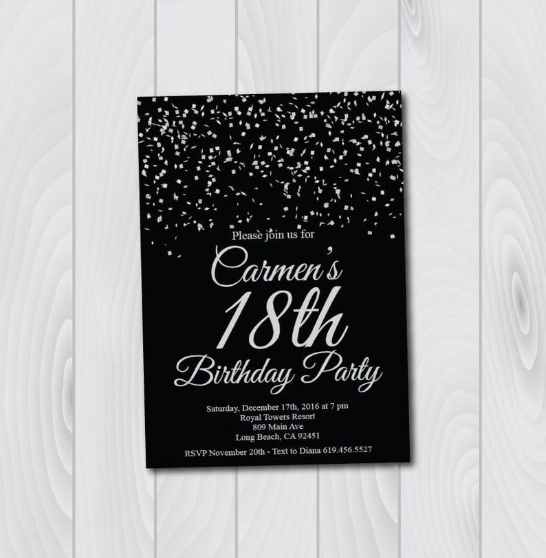 18th Birthday Invitation Printable Silver Black E Card Template Eighteenth