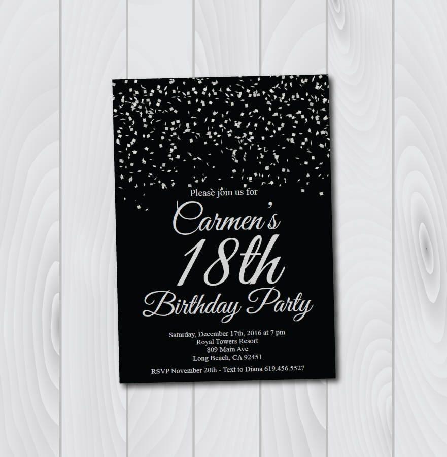 18th Birthday Invitation Printable Silver Black Birthday Etsy