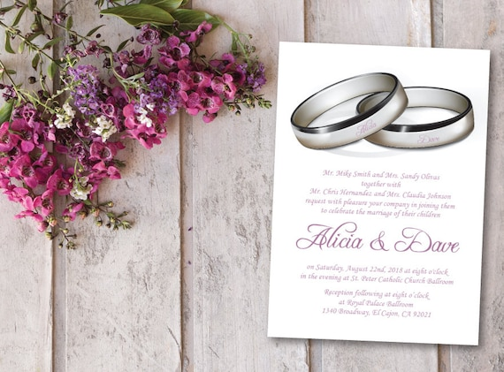 Set of 4 Silver & Purple Wedding Invitation Template/Printable | Etsy