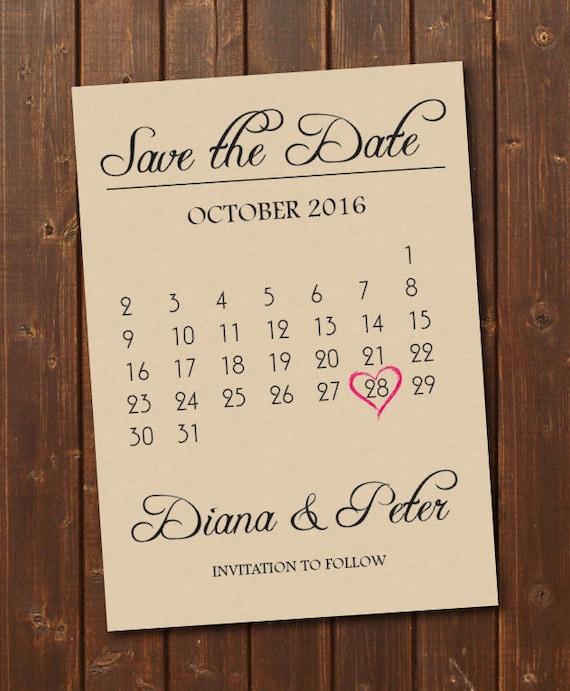 Save The Date Calendar Templatesave The Date Postcard