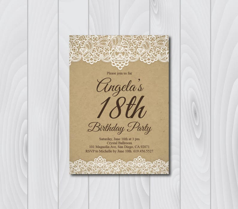 18th Birthday Invitation Vintage E Card