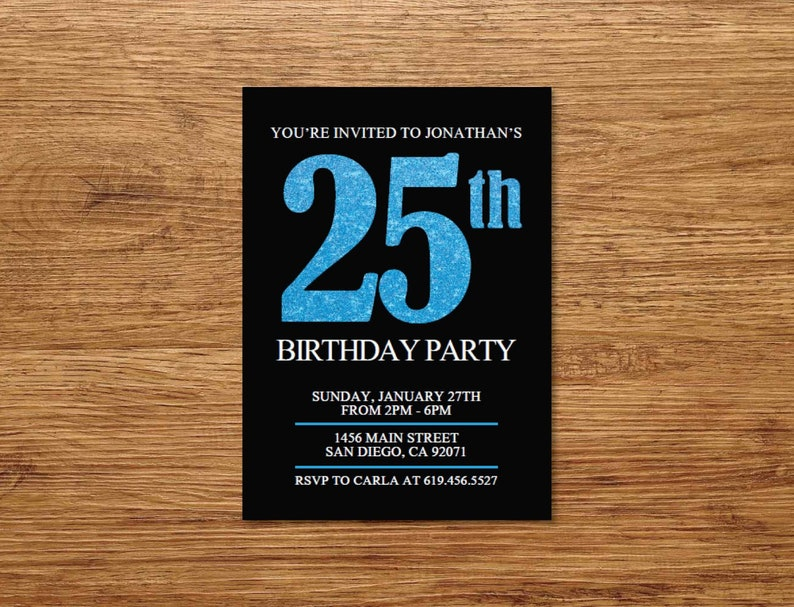 ANY AGE Surprise 25th Birthday Invitation Printable Black