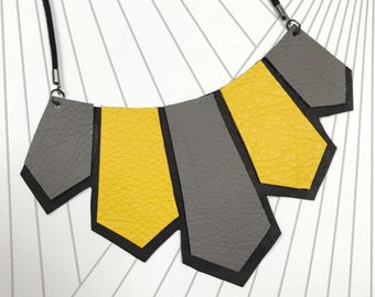 Contemporary Geometric Leather Necklace