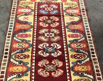 """Handmade Vintage Turkish Area Rug 4'5"""" x 3'"""