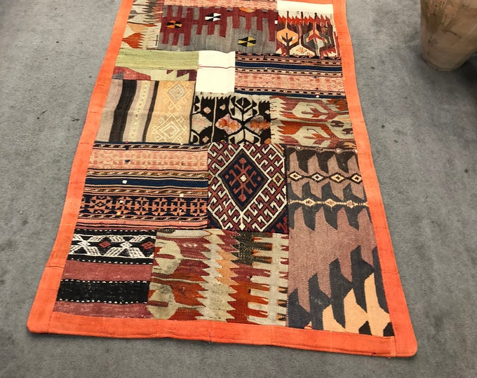 "Turkish Hand-woven Patchwork Kilim 4'7"" x 2'11"""