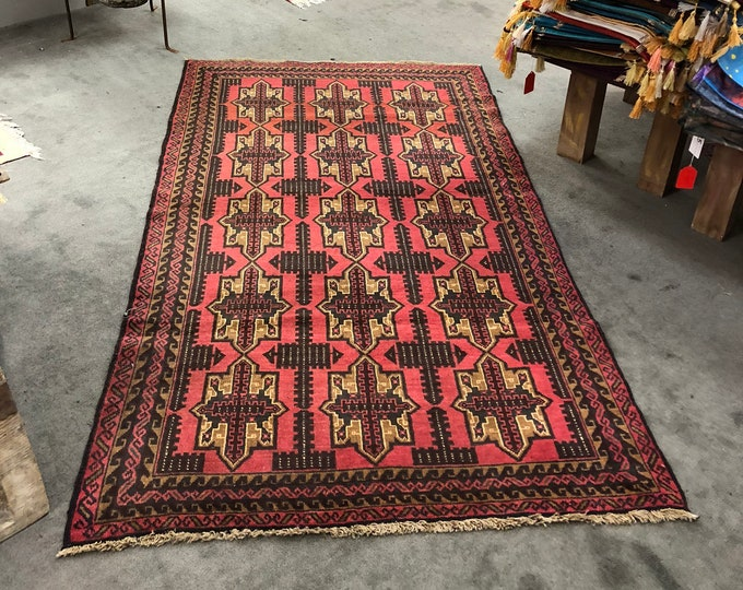 "Handmade Afghan Rug, Natural Wool Area Rug 6'4"" x 3"" 8'"