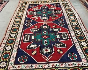 "Vintage Kazak wool runner, hand knotted bohemian area rug 6'11"" x 4'5"""