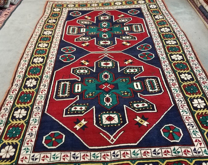 "Vintage Kazak wool runner, hand knotted bohemian area rug 6'11"" x 4'5"""