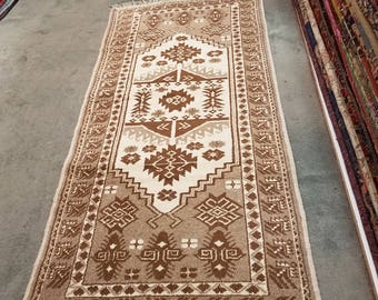 "Vintage Turkish natural wool runner, hand knotted middle Anatolian rug 6'2"" x 3'"
