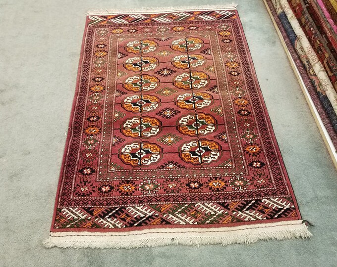 """Vintage Turkmen wool rug, hand knotted bohemian area rug 3'10"""" x 2'7"""""""