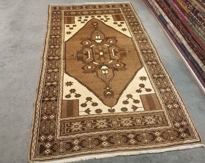 Vintage Turkish runner, natural color wool area rug 6' x 3'5""