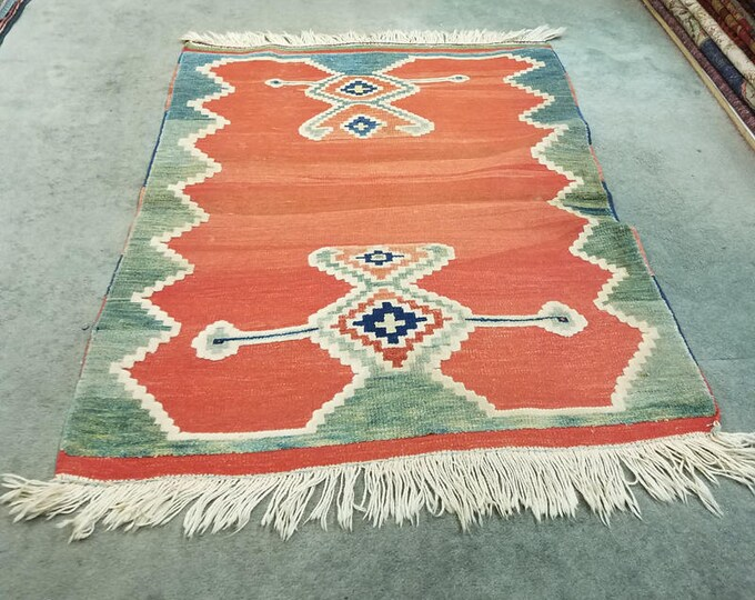 "Vintage Turkish wool rug, hand knotted and woven mixed area rug 4'1"" x 3'5"""