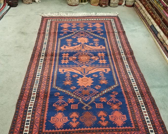 "Vintage Turkish wool rug, hand knotted bohemian area rug 6'2"" x 3'5"""