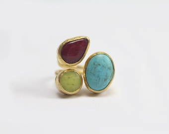 Gold-plated Brass Three Stone Ring with Turquoise, Lime Quartz & Root Ruby