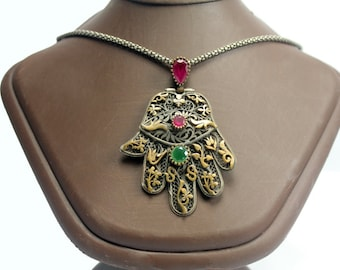 The Hand of Fatima Silver Pendant with The Special Oxidized Silver Chain - Sterling Silver with Ruby & Emerald Stone