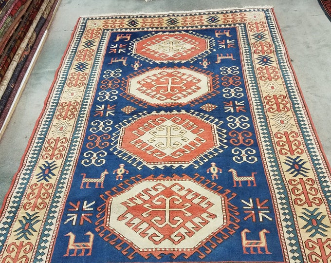 "Vintage Turkish rug, hand knotted area rug 6'10"" x 4'8"""