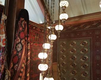 Turkish Handmade Mosaic Glass Chandelier 9 pieces.