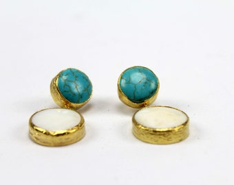 Gold plated Brass Earrings with Turquoise & Mother of Pearl Stones - Gemstone earrings