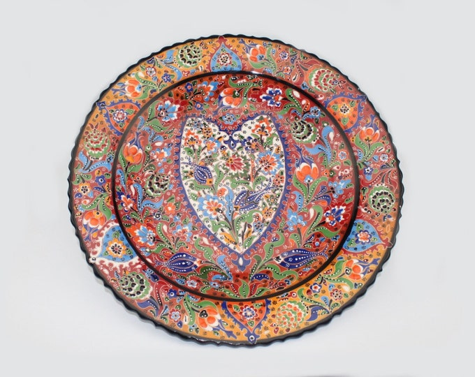 KUTAHYA Raised Floral Design Turkish Handmade Ceramic Plate