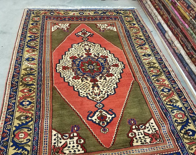 Vintage Turkish wool rug, hand knotted area rug 7' x 4'5""