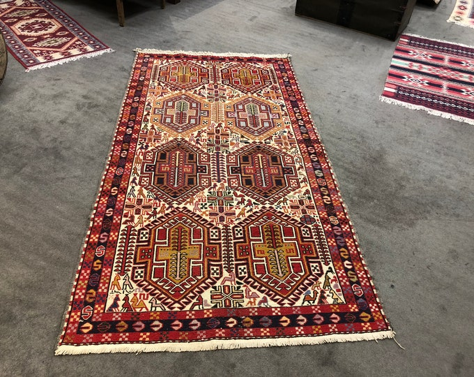 "Vintage Silk & Wool Embroidered Kilim 3'9"" x 7'"