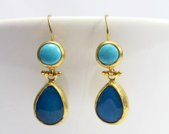 Gold plated Brass Earrings with Turquoise & Aquamarine Stones - Gemstone earrings