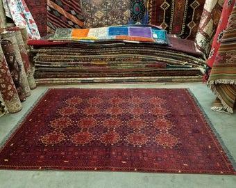 "Vintage handmade Afghan wool rug, hand knotted area rug 6'11"" x 5'1"""