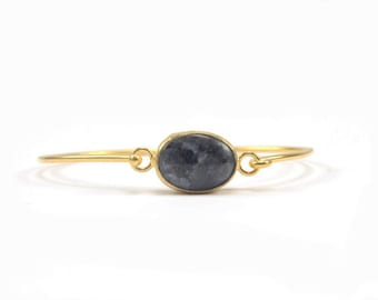Gold-plated Brass Hook Bangle with Labradorite, Simple Bangle with Gemstone