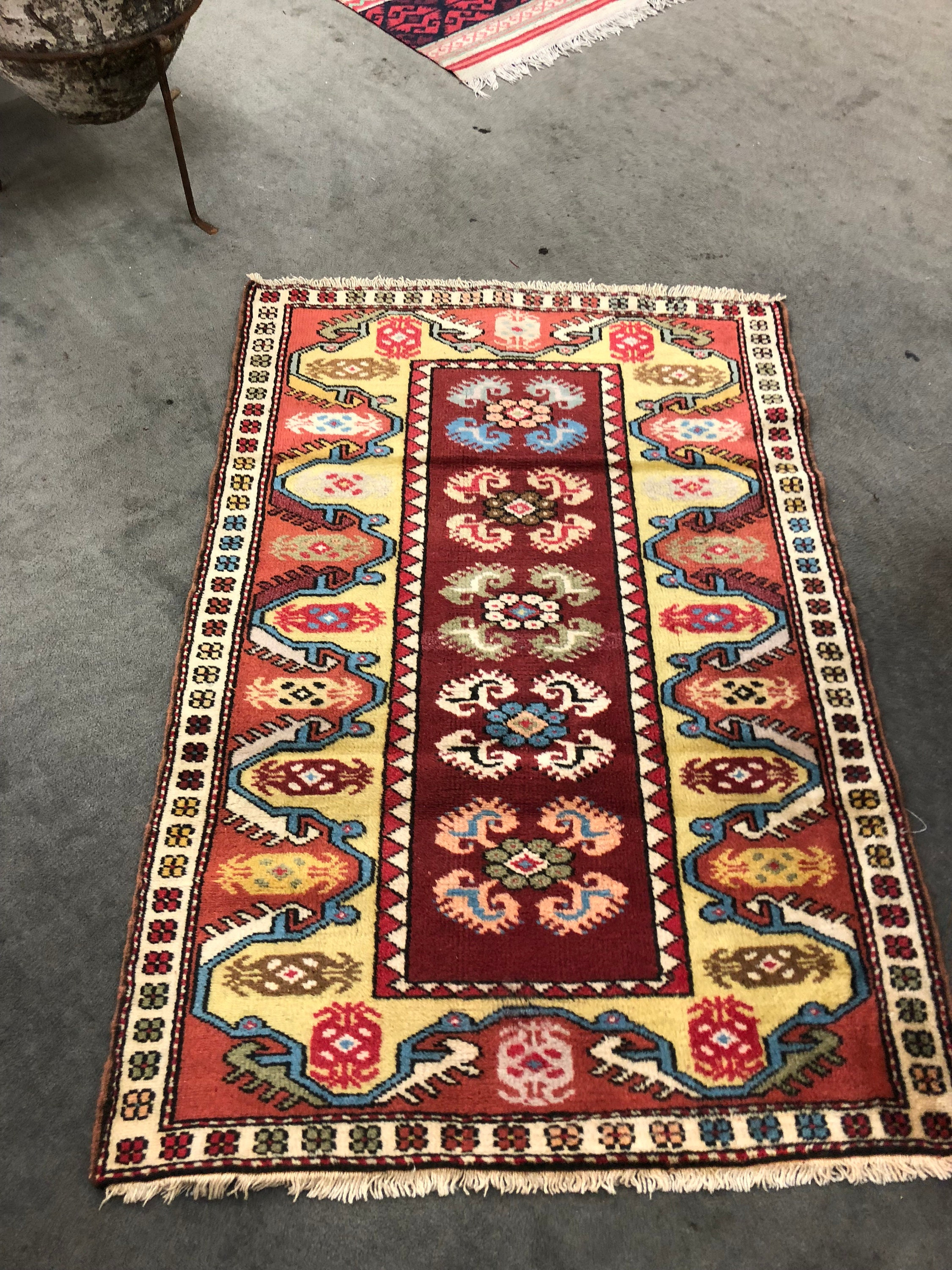 Handmade Vintage Turkish Area Rug 4 5 X 3